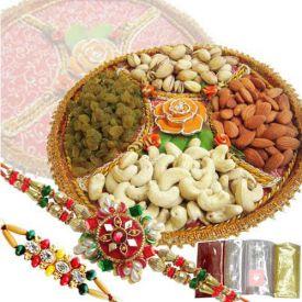 1 Kg mixed dry fruits with 2 Rakhi
