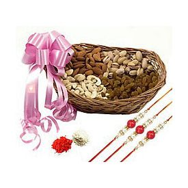 500 grams mixed dry fruits with Basket and 3 Rakhi