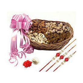 500 grams mixed dry fruits with Basket and 3 Rakhi