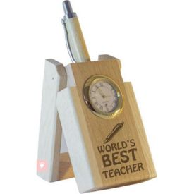 World's Best Teacher Pen with Stand and Clock