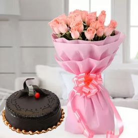 Pink Roses With Chocolate Cake