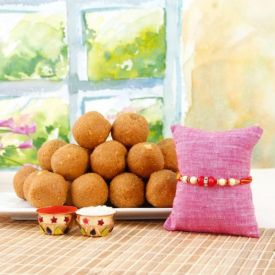Single Rakhi With Besan Laddu