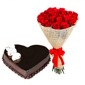 Roses With Heart Shape Chocolate Cake