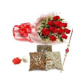 Red Roses And Rakhi Hamper