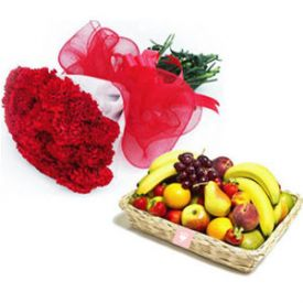 10 Red Carnation and 2 Kg Mixed Fruits with Basket.