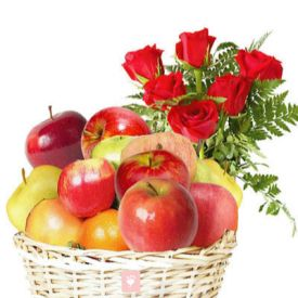 10 Red Roses and 2 Kg Apple with Basket