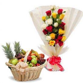 10 Mixed Roses and 2 Kg Mixed Fruits with Basket.