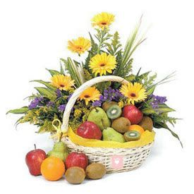 10 Yellow Gerbera and 2 Kg Mixed Fruits with Basket