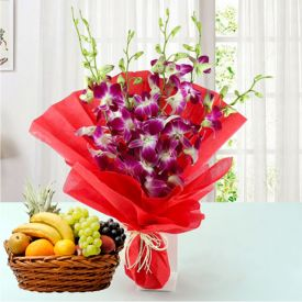 Purple Orchid and Mixed Fruits