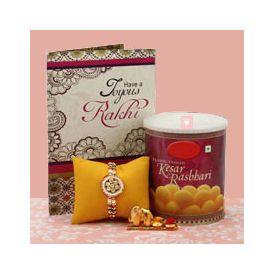 Rakhi greeting card and sweets