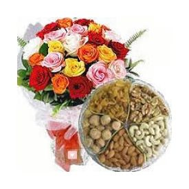 Mixed Roses With mixed Dry Fruits