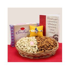 Rakhi with Greeting Card, soan papdi and dry fruits