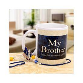 Printed Mug Along with Zardosi Rakhi