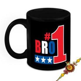 Rakhi with black 300 ml ceramic mug