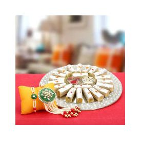 Rakhi With Kaju Burfi Roll
