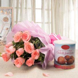 10 Pink Roses and 1 kg gulab Jamun.