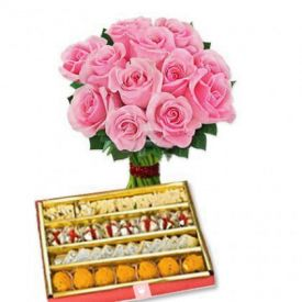 Bunch of 10 Pink Roses with 1/2 Kg Mixed Sweets
