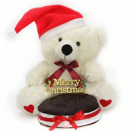 Christmas teddy bear with a red cap and chocolate cake.