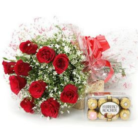10 Red Rose and 16 pcs Ferrero Rocher