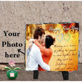 Happy Kiss Day Photo Stone