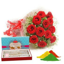 Red roses, kaju katli with gulal