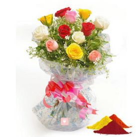 12 mixed Roses with Gulal