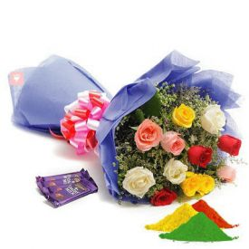 Mixed Colour Roses, Cadbury dairy milk chocolates with Gulal