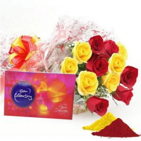 Red and Yellow Roses,Cadbury Celebration Pack with Gulal