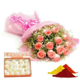 Pink roses,Rasgulla with Gulal
