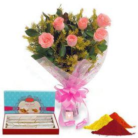 Pink Roses, Kaju Katli with Gulal