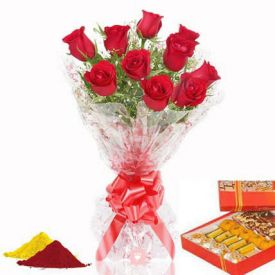 Red Roses, Mix Sweets with Gulal