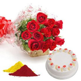 Red Roses, Pineapple cake with Gulal