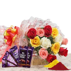 Mixed roses, Dairy milk chocolates with Gulal