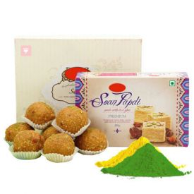Besan Laddu, Soan Papdi with Gulal