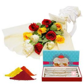 Mixed Roses, kaju Katli With Gulal
