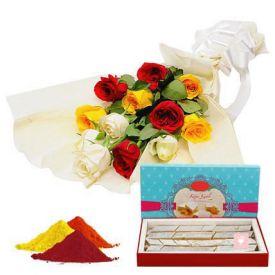 Mixed Roses, kaju Katli With Gulal
