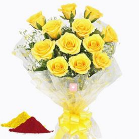 Yellow Roses With Gulal