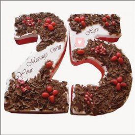 Silver Jubilee Fondant Cake