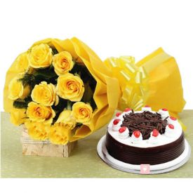 Yellow roses and Black forest cake