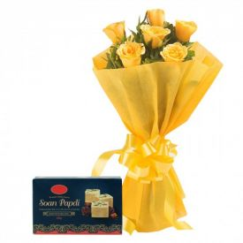 Bunch of 10 Yellow Roses with 1/2 Kg Soan Papdi