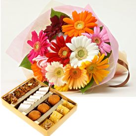Bunch of 10 Mixed Gerbera and 1 Kg Mixed Sweets.