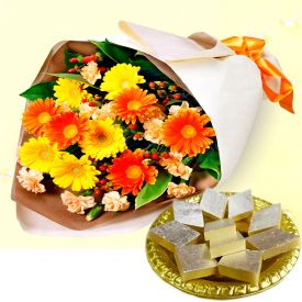 Bunch of 10 Mixed Gerbera and 1/2 Kg Kaju Katli.