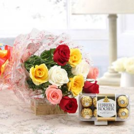 Bunch of 12 mix roses and 16 pcs ferrero rocher