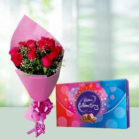 Pink roses and cadbury celebration