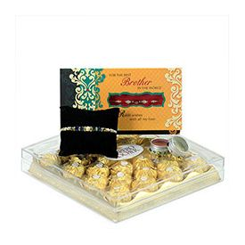 1 Greeting Card,1 Beaded Rakhi, 24 Pcs Ferrero Rocher box