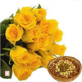 Bunch of 12 yellow roses and 1kg dry fruits with basket