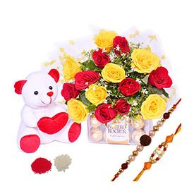 Roses,Chocolates ,1 Teddy of 6 inch,Rakhi