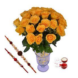 18 Yellow Roses ,Pearl Rakhi