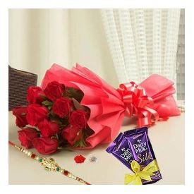 Red Roses with Rakhi Combo