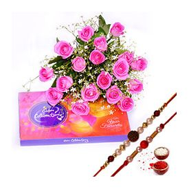 Bunch of 15 Pink Roses,Chocolates ,Rakhi